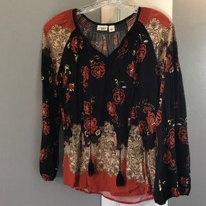 Cato Black and Orange Floral Top